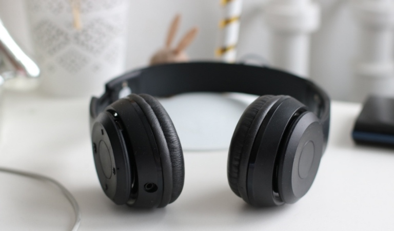 Headphones used for transcription.